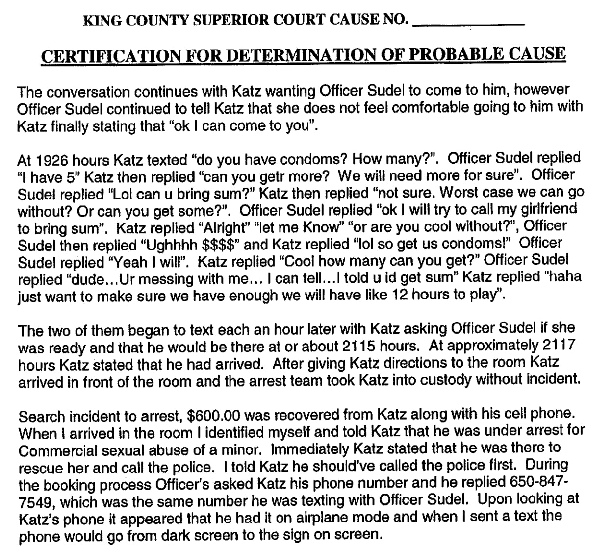 dov katz king county police statement