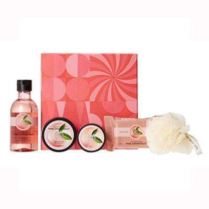 pink grapefruit bath gift set