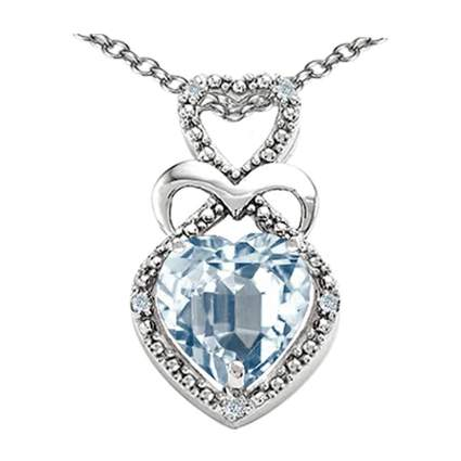 white gold and aquamarine three heart necklace