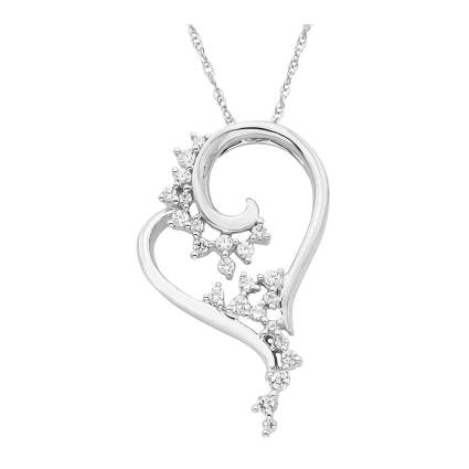 white gold scattered diamond heart necklace