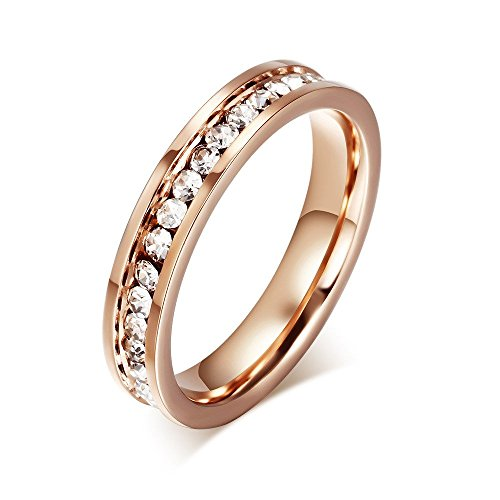 rose gold plated cubic zirconia wedding band