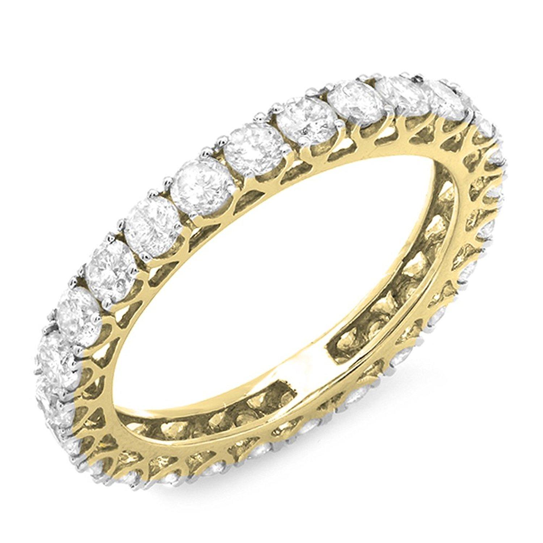 gold round diamond eternity band