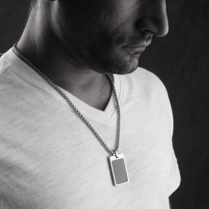 Unique Tungsten Tag Necklace