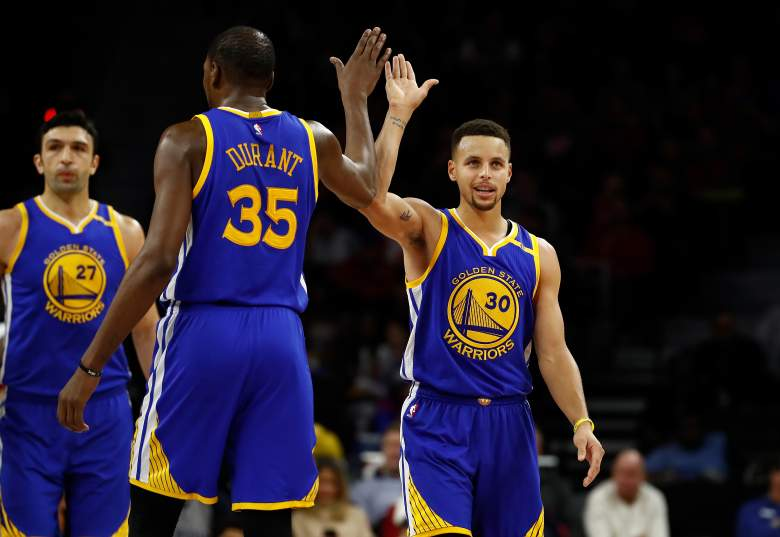 The Golden State Warriors had six players garner top votes for the 2017 NBA All-Star Game. Kevin Durant and Steph Curry are the top vote-getters in the West. (Getty)