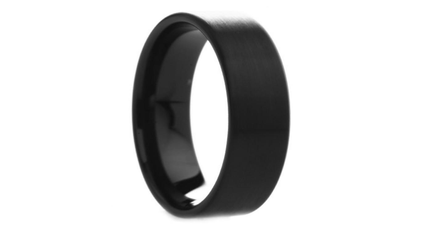 black tungsten wedding band