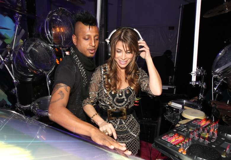 DJ Ravi Drums and Paula Abdul at the launch party for the new T-Mobile Sidekick 4G at a Private Lot on April 20, 2011. (Getty)