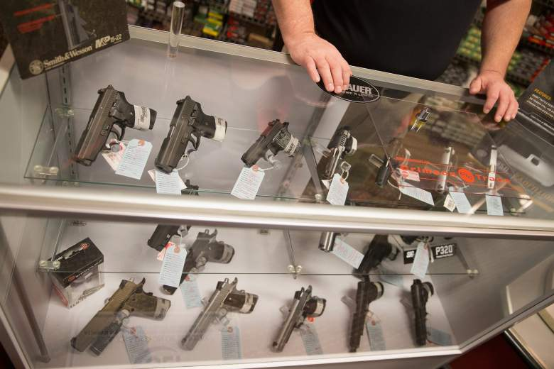 Customers shop for a handgun at Metro Shooting Supplies on November 12, 2014 in Bridgeton, Missouri. (Getty)