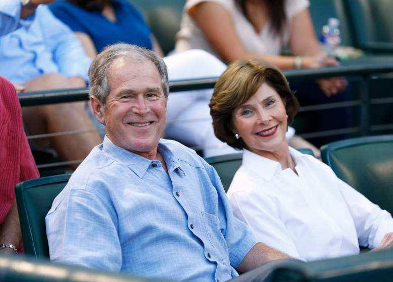 ARLINGTON, TX - SEPTEMBER 19:  Former U.S. president George W. Bush and former First Lady Laura Busy wait for the start of the game between the Seattle Mariners and the Texas Rangers at Globe Life Park in Arlington on September 19, 2015 in Arlington, Texas.  (Photo by Mike Stone/Getty Images)