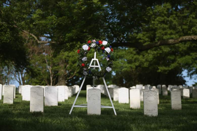 ARLINGTON, VA - MAY 13: A wreath stands at the grave of Army Pvt. William Christman, as part of Arlington at 150 Celebration, on May 13, 2014 in Washington, DC. Pvt. Christman was the first military burial at Arlington 150 years ago today on May 13, 1864. (Photo by Mark Wilson/Getty Images)