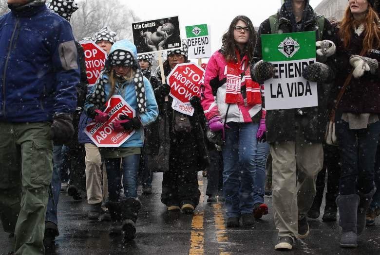 Activists participate in the 2016 March for Life on January 22, 2016 in Washington, DC. (Getty)