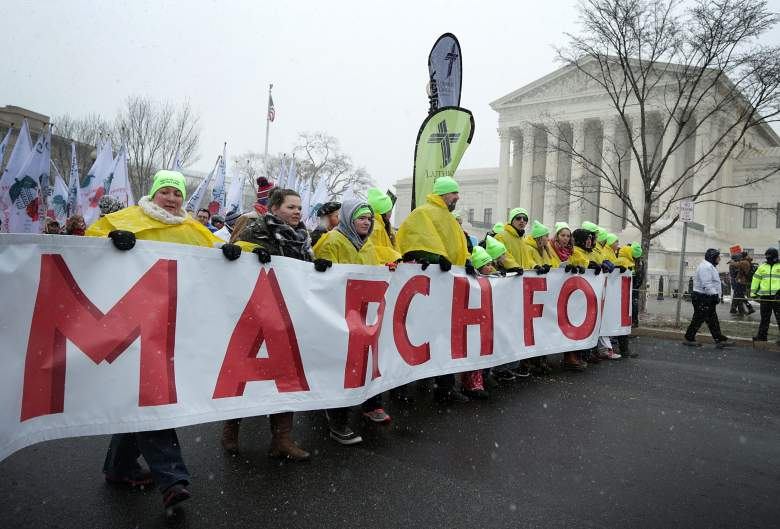 The March for Life begins at the grounds of the Washington Monument. (Getty)