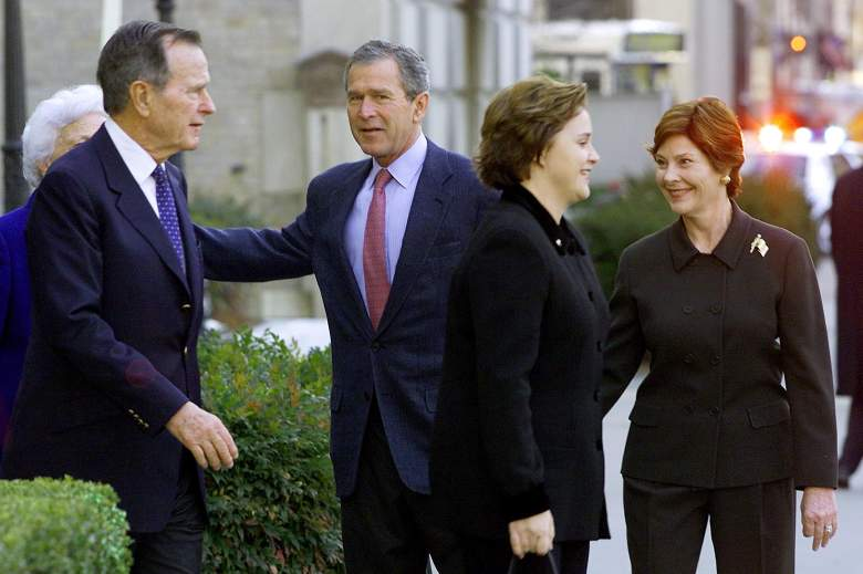 WASHINGTON, : US President George W. Bush (C) and his wife Laura (R), escort his parents former US President George Herbert Walker Bush (2nd L) and Barbara Bush (L), and his sister Dorothy as they leave St. John's Episcopal Church after Sunday morning services across from the White House 27 January 2002. AFP PHOTO/Paul J. Richards (Photo credit should read PAUL J. RICHARDS/AFP/Getty Images)