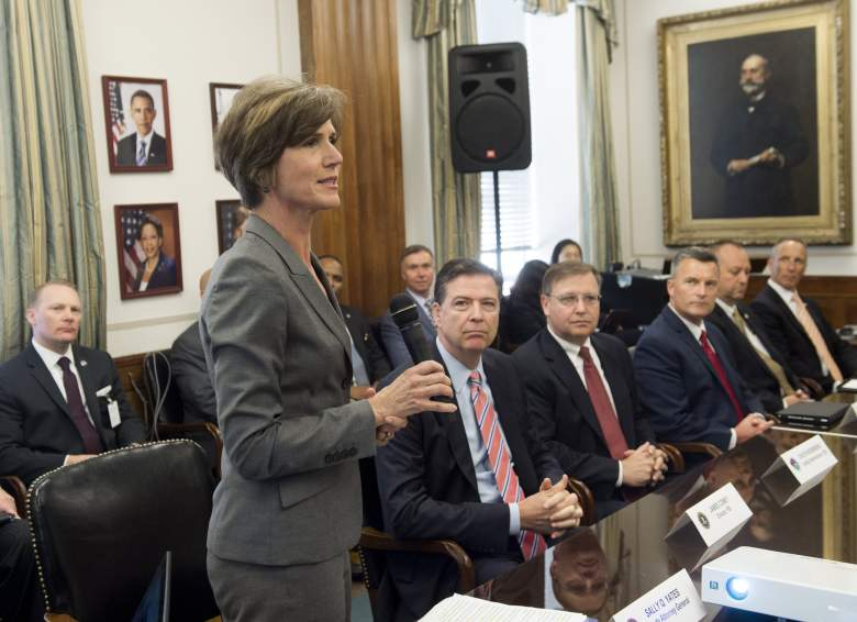 Sally Yates speaks alongside FBI Director James Comey and Chuck Rosenberg, acting administrator of the Drug Enforcement Administration, as they attend a new Implicit Bias Training program at the Department of Justice in Washington, DC, June 28th, 2016. (Getty)