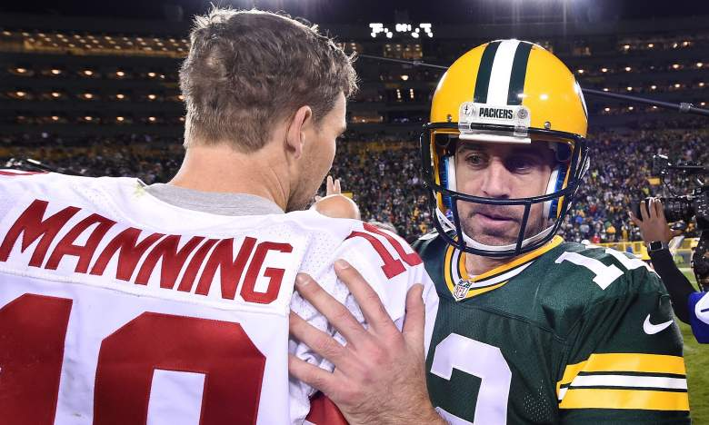 eli manning vs aaron rodgers career playoff records postseason stats touchdowns tds interceptions wins losses