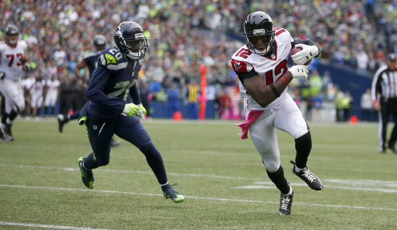 Falcons wide receiver Mohamed Sanu eludes Seahawks cornerback Jeremy Lane earlier this season. (Getty)