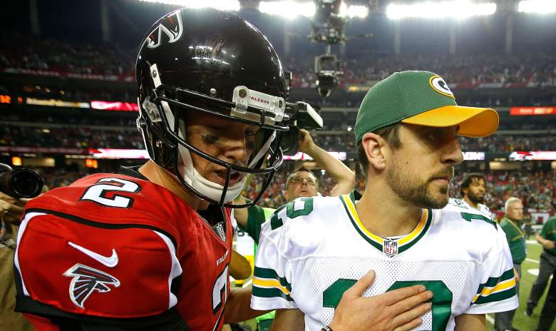 aaron rodgers vs matt ryan stats career playoff record touchdowns tds interceptions wins losses yards