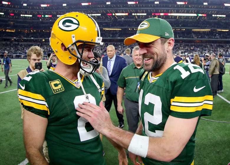 Green Bay Packers kicker Mason Crosby, left, celebrates making the game-winning kick against the Dallas Cowboys with quarterback Aaron Rodgers on January 15. (Getty)