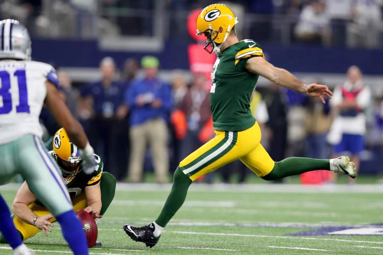 Green Bay Packers kicker Mason Crosby lines up for a field goal against the Dallas Cowboys. (Getty)