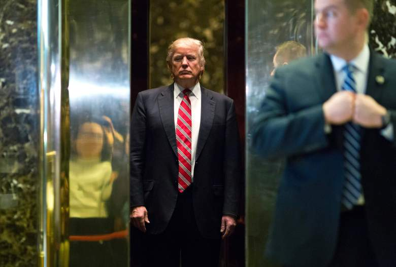 Donald Trump boards the elevator after meetings at Trump Tower on January 16, 2017. (Getty)