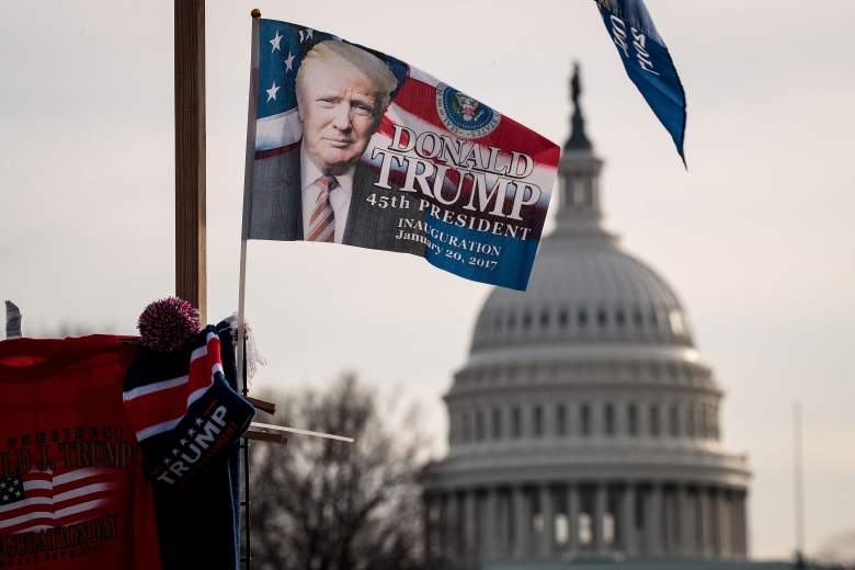 WASHINGTON, DC - JANUARY 19: With the U.S. Capitol in the background, a 'Trump' flag flies on top of a merchandise stand on North Capitol Street, January 19, 2017 in Washington. DC. Trump will be inaugurated as the 45th U.S. President on Friday. (Photo by Drew Angerer/Getty Images)