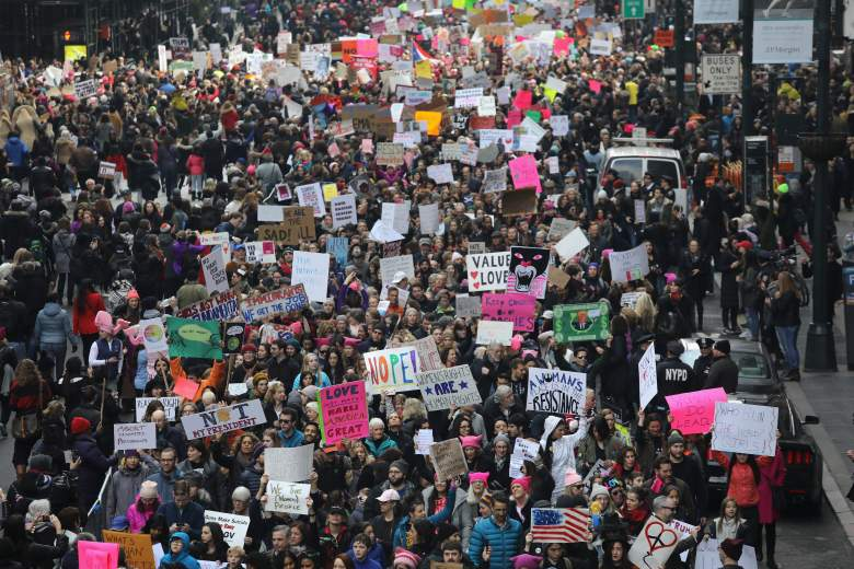 NEW YORK, NY - JANUARY 21: Thousands of people march on 42nd street during the Women's March on January 21, 2017 in New York City. The Midtown Manhattan event was one of many nationwide that came a day after Donald Trump was sworn in as the 45th President of the United States. (Photo by John Moore/Getty Images)