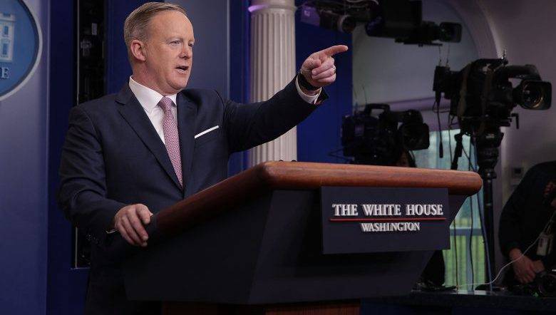 White House Press Secretary Sean Spicer speaks during a daily briefing at the James Brady Press Briefing Room of the White House on January 23.  (Getty)