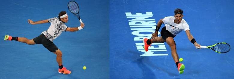Roger Federer, left, and Rafael Nadal, right, play January 29 in the 2017 Australian Open final. (Getty)