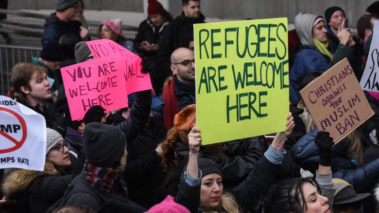 refugees at jfk, jfk protests