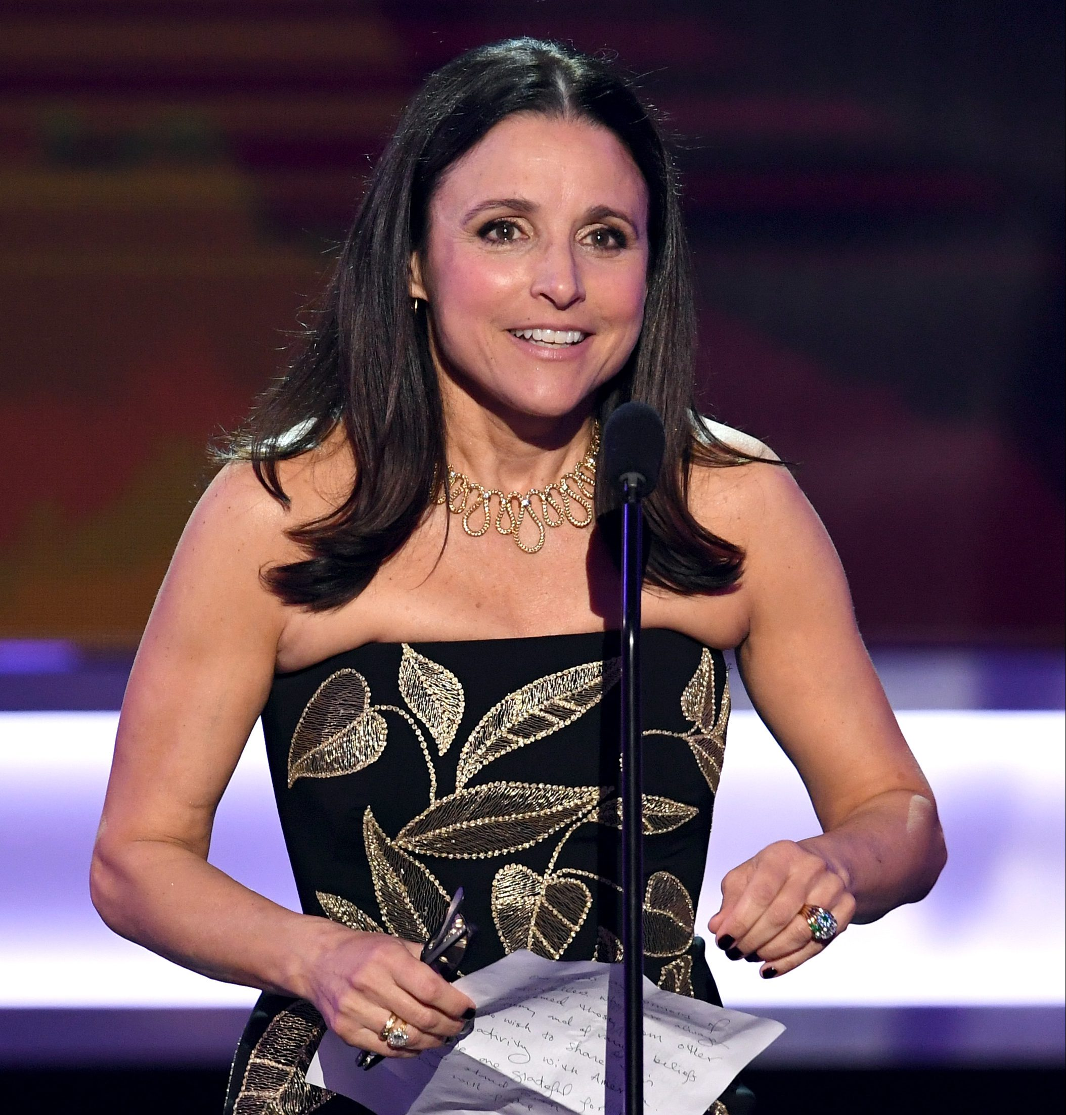 Julia Louis-Dreyfus accepts Outstanding Performance by a Female Actor in a Comedy Series for 'Veep' onstage during The 23rd Annual Screen Actors Guild Awards at The Shrine Auditorium on January 29, 2017 in Los Angeles, California.  (Getty)