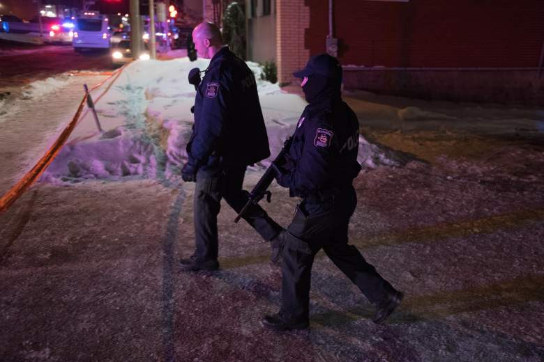 Canadian police officers patrol after a shooting in a mosque at the Québec City Islamic cultural center on Sainte-Foy Street in Quebec city on January 29, 2017. Two arrests have been made after five people were reportedly shot dead in an attack on a mosque in Québec City, Canada.  / AFP / Alice Chiche        (Photo credit should read ALICE CHICHE/AFP/Getty Images)