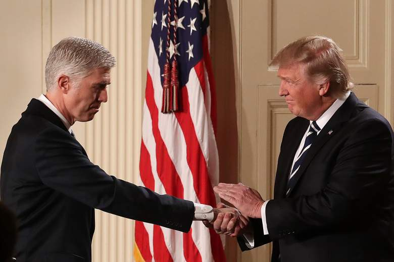President Donald Trump shakes hands with Judge Neil Gorsuch after nominating him to the Supreme Court during a ceremony January in Washington, DC. If confirmed, Gorsuch would fill the seat left vacant with the death of Associate Justice Antonin Scalia in February 2016. (Getty)