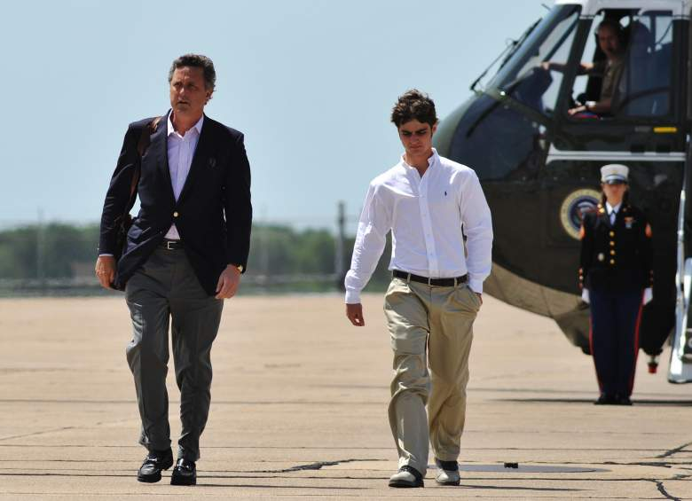 Marvin Bush, the brother of US President George W. Bush, and his son Walker make their way from a helicopter May 11, 2008 at the Texas State Technical College Airport in Waco, Texas. US President George W. Bush was returning to Washington after attending the wedding of his daughter Jenna at his Prairie Chapel ranch. AFP PHOTO/Mandel NGAN (Photo credit should read MANDEL NGAN/AFP/Getty Images)