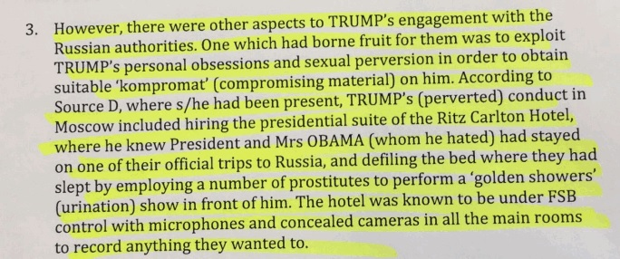 Donald Trump, GoldenShowerGate, Donald Trump Golden Shower