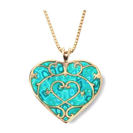 gold plated silver fleur de lis heart necklace