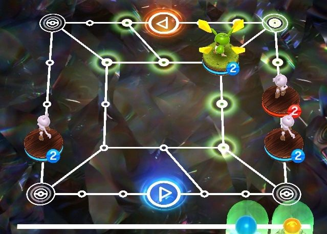 Surround a Pokemon on both sides to knock it off the board. (Pokemon Duel)