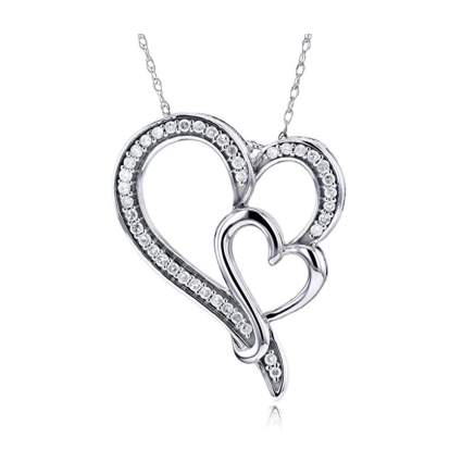 gold and diamond double heart necklace