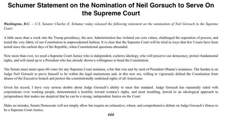 Neil Gorsuch Democrat Response, Democrat Response, SCOTUS nominee