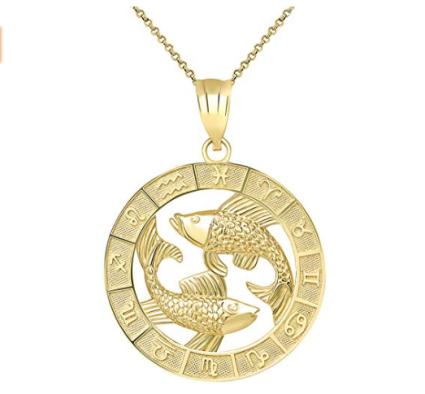 CaliRoseJewelry 14k Yellow Gold Zodiac Pendant Necklace