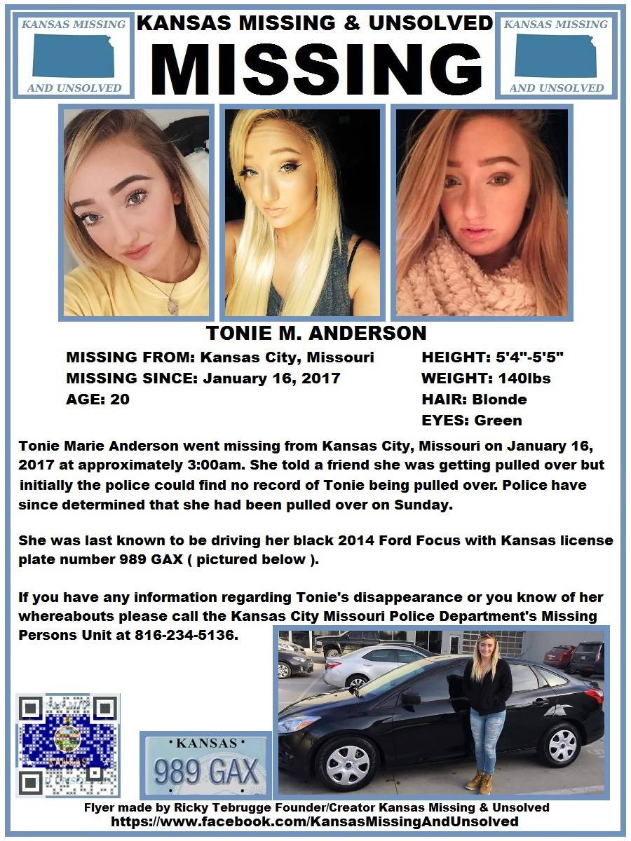 toni anderson, toni anderson missing poster, toni anderson missing, toni anderson kansas city missing poster