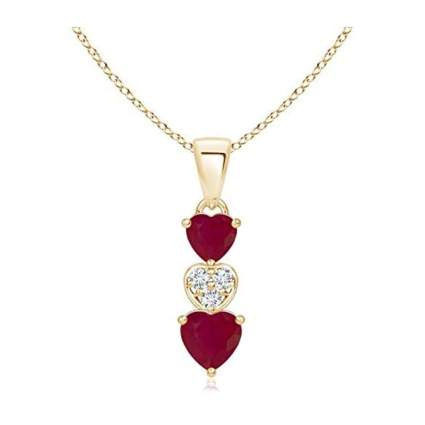 triple heart diamond and ruby necklace