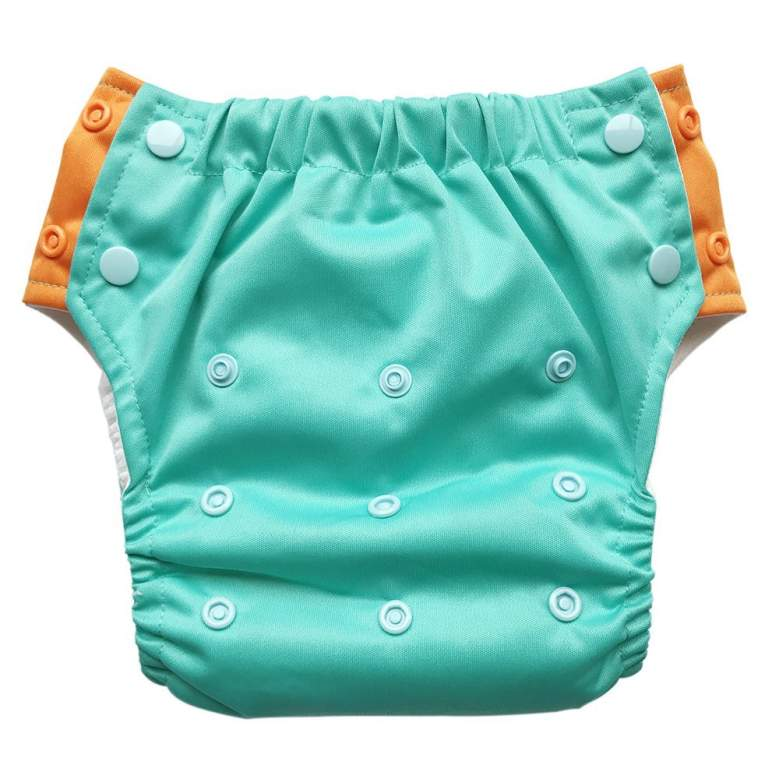 EcoAble Baby Convertible 3-in-1 Cloth Diaper Hybrid w/Pocket & Insert: Everyday Use, Swim or Potty Training (Size 1 / 8-25Lb, Aqua)