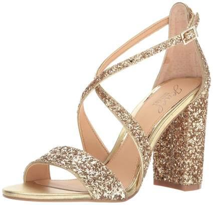 gold glitter sandal