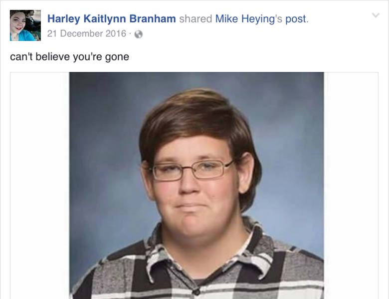 Harley Branham Facebook tribute