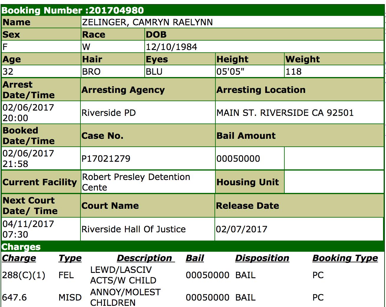 camryn zelinger charges
