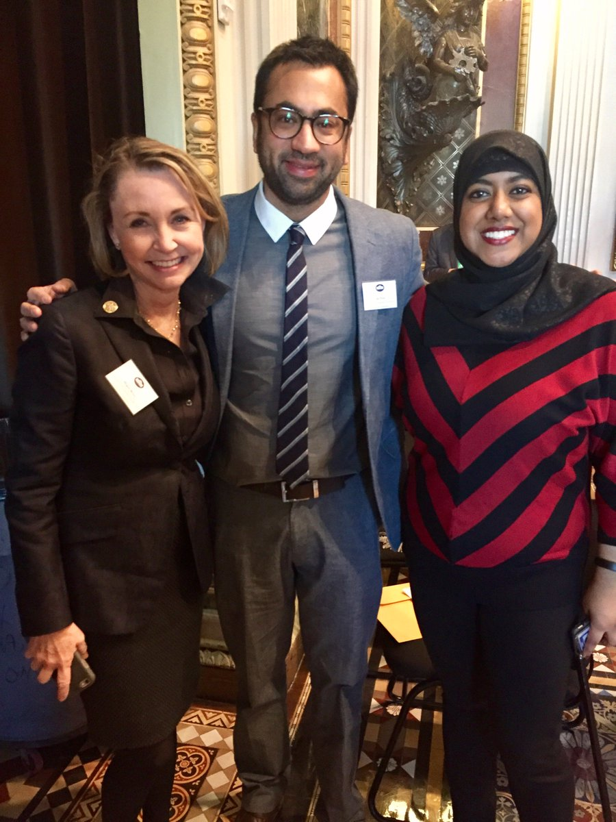 Rumana Ahmed with Kal Penn and Megan Beyer. (Twitter)