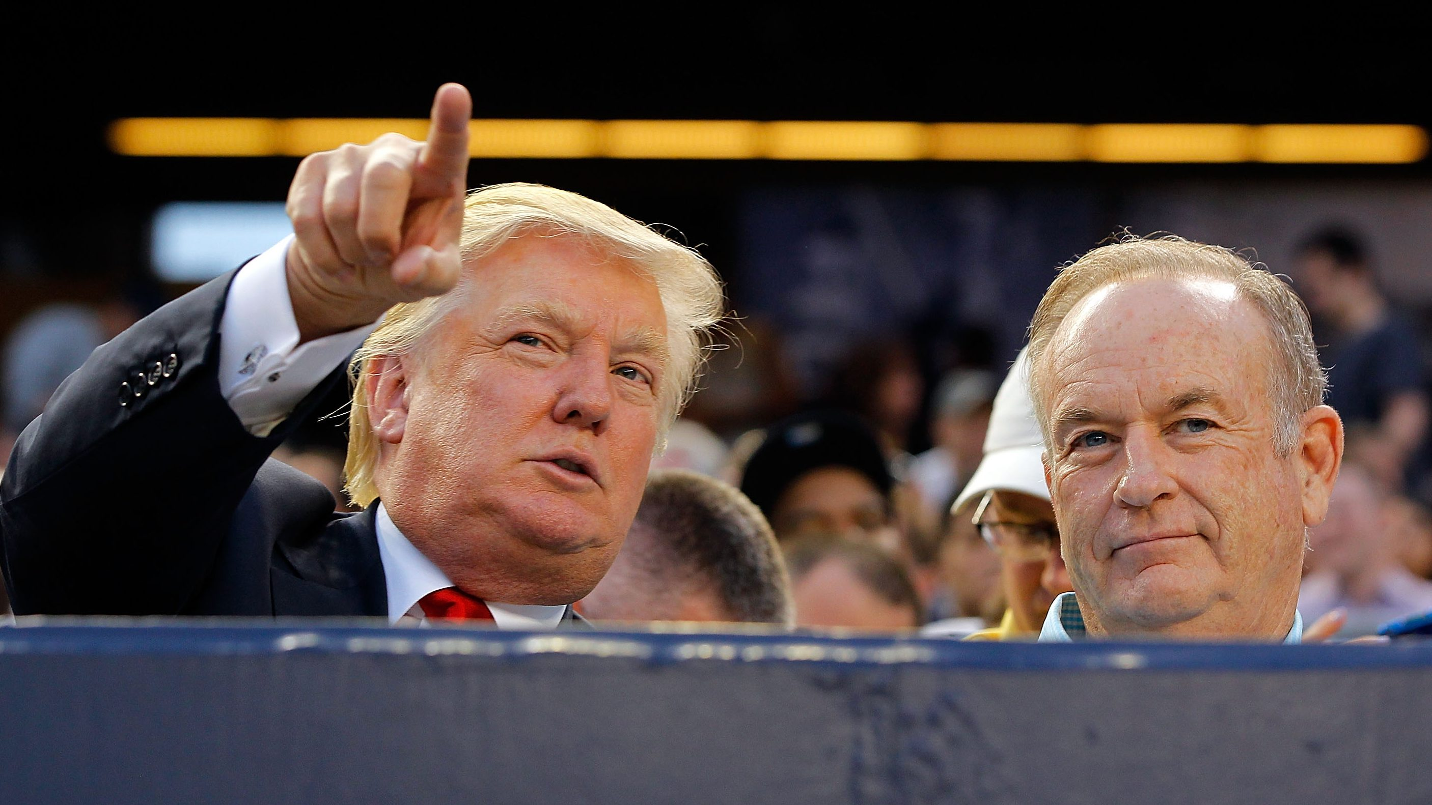 Donald Trump and Bill O'Reilly pictured together at a Yankees baseball game. (Getty)