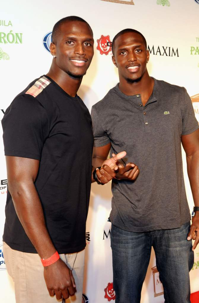 """NEW ORLEANS, LA - FEBRUARY 02: NFL players Devin McCourty and Jason McCourty attend The Maxim Party With """"Gears of War: Judgment"""" For XBOX 360, FOX Sports & Starter Presented by Patron Tequila at Second Line Warehouse on February 1, 2013 in New Orleans, Louisiana. (Photo by Gerardo Mora/Getty Images for Maxim)"""