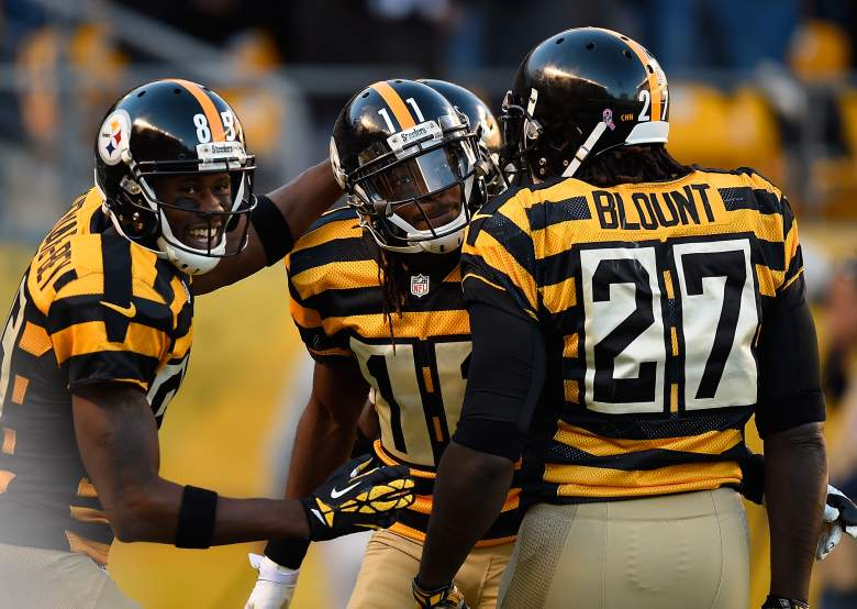 Markus Wheaton celebrates a touchdown with Darrius Heyward-Bey and LeGarrette Blount of the Pittsburgh Steelers in 2014. (Getty)