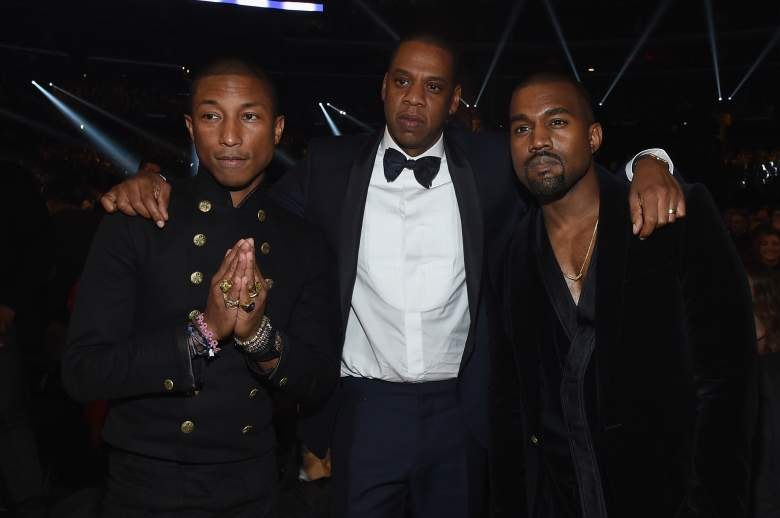 LOS ANGELES, CA - FEBRUARY 08: (L-R) Recording Artists Pharrell Williams, Jay Z and Kanye West attend The 57th Annual GRAMMY Awards at the STAPLES Center on February 8, 2015 in Los Angeles, California. (Photo by Larry Busacca/Getty Images for NARAS)