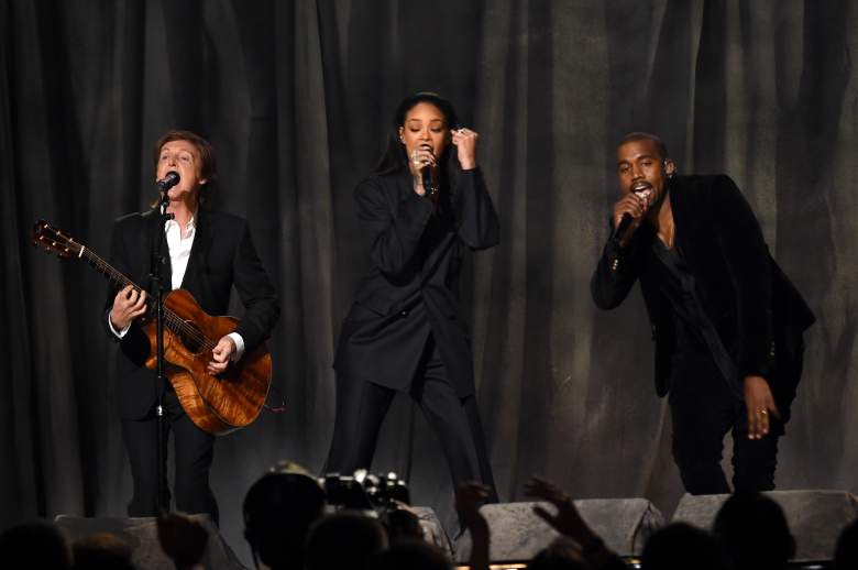 LOS ANGELES, CA - FEBRUARY 08: Musicians Paul McCartney, Rihanna and Kanye West perform onstage during The 57th Annual GRAMMY Awards at the STAPLES Center on February 8, 2015 in Los Angeles, California. (Photo by Larry Busacca/Getty Images for NARAS)